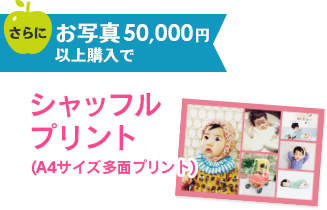 4.お写真50,000円以上購入で、更に1〜3の特典に加え、シャッフルプリント(A4サイズ多面プリント)プレゼント