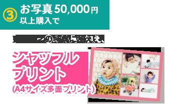 4.お写真50,000円以上購入で、更に1〜3の特典に加え、シャッフルプリント(A4サイズ多面プリント)
