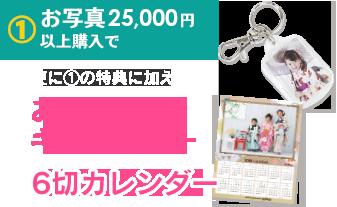 2.お写真25,000円以上購入で、更に1の特典に加え、お写真入りキーホルダー/6切カレンダー