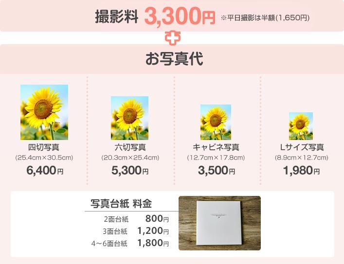 撮影料3,300円+お写真代